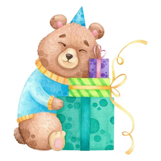 Aquarelle ours avec des cadeaux d'anniversaire. Vecteur Premium