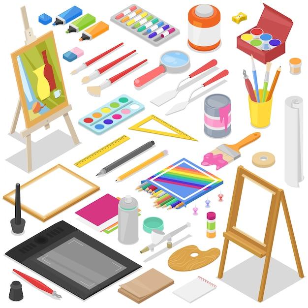 Aquarelle D'outils D'artiste Avec Palette De Pinceaux Et Peintures De Couleur Sur Toile Pour Les Illustrations En Illustration De Studio D'art Peinture Artistique Sur Fond Vecteur Premium
