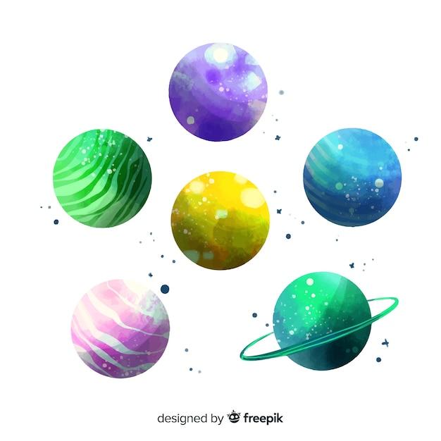 Aquarelle Pack De Différentes Planètes Vecteur gratuit