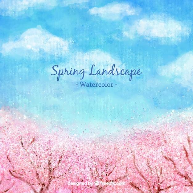 Aquarelle paysage de printemps avec cerisiers Vecteur gratuit