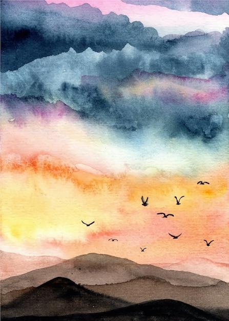 Aquarelle de paysage avec fond de ciel magnifique Vecteur Premium