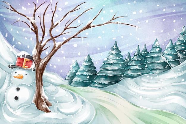 Aquarelle paysage d'hiver avec bonhomme de neige Vecteur Premium