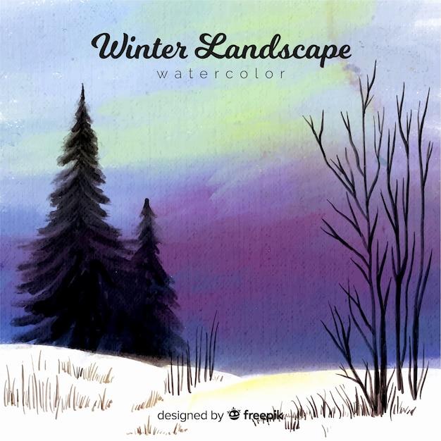 Aquarelle paysage d'hiver Vecteur gratuit