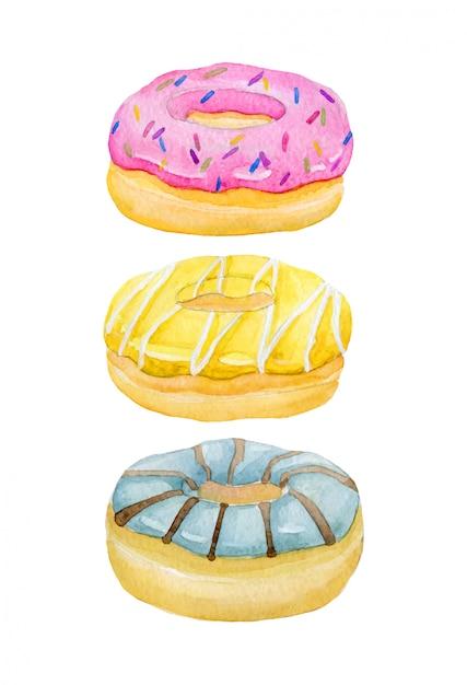 Aquarelle peinte à la main beignet sucré et savoureux glacé à la crème et saupoudrage Vecteur Premium