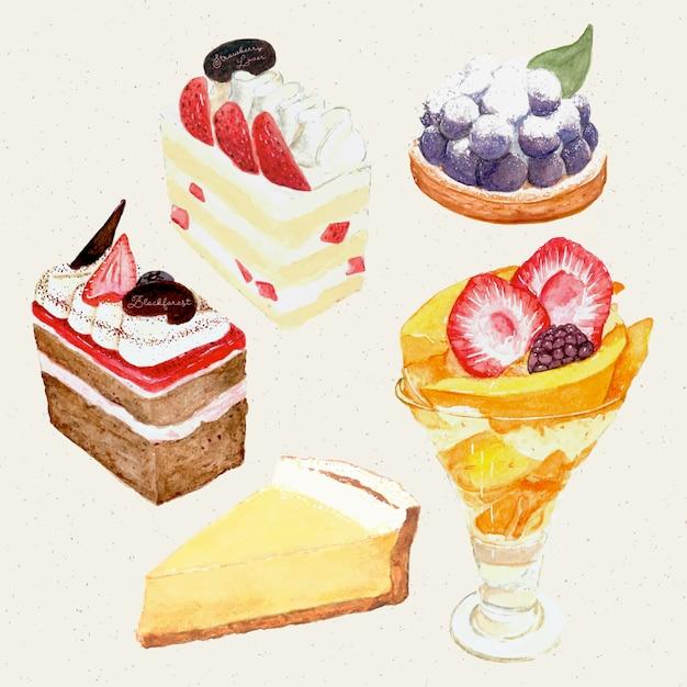 Aquarelle peinte à la main gâteau sucré et savoureux. gâteau, tarte, gâteau au fromage, parfait Vecteur Premium