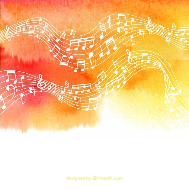 Aquarelle avec pentagramme et notes musicales Vecteur gratuit