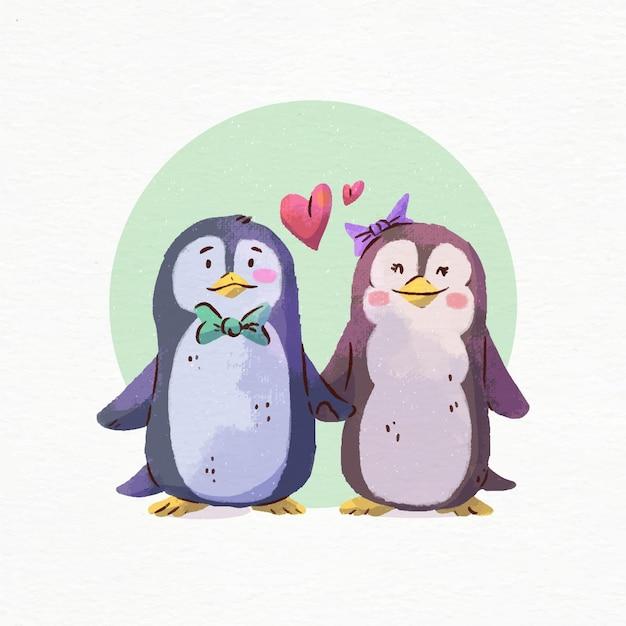 Aquarelle De Pingouins De La Saint-valentin Amoureux Vecteur gratuit