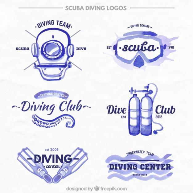 Aquarelle plongée mignon badges d'équipement Vecteur gratuit