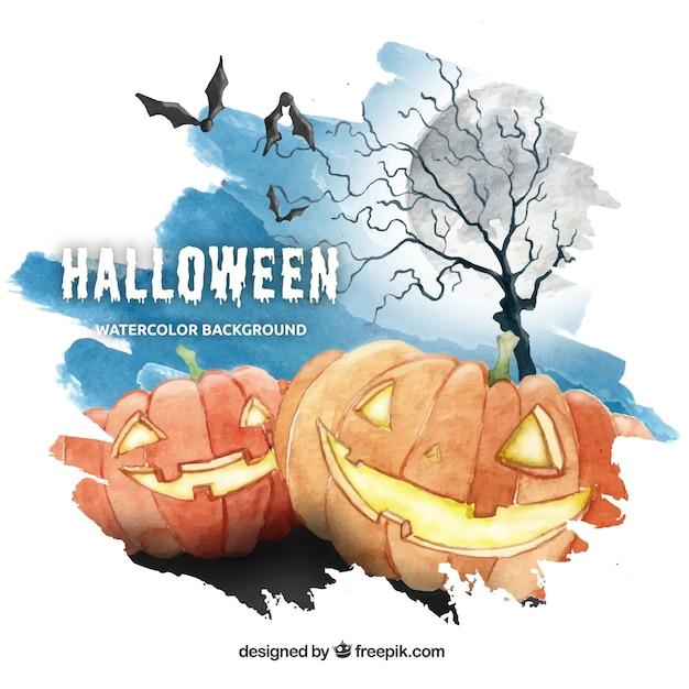 Aquarelle pour halloween en bleu, orange et gris Vecteur gratuit