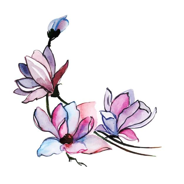Aquarelle printemps floral et feuilles collection Vecteur gratuit