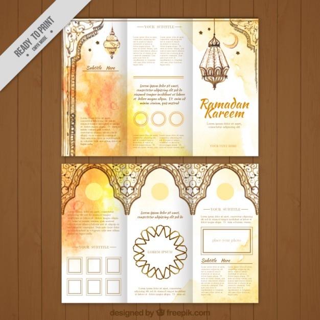 Aquarelle ramadan or trifold Vecteur gratuit