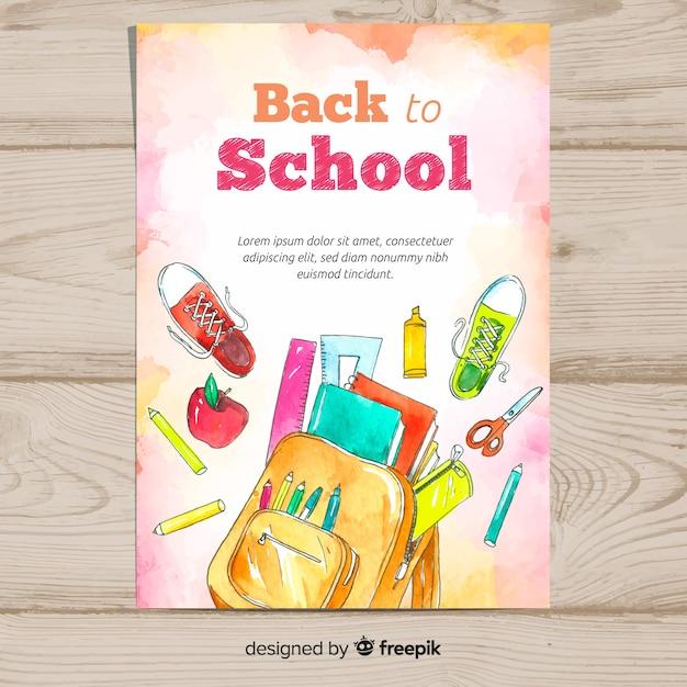 Aquarelle retour au modèle de carte scolaire Vecteur gratuit