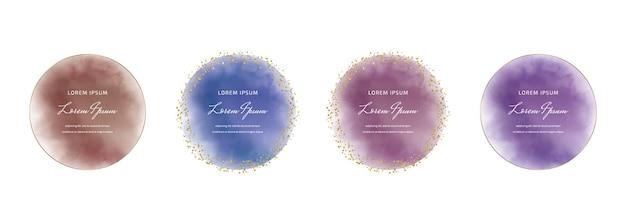 Aquarelle Ronde Violette, Bleue Et Rouge Avec Des Cadres De Confettis Dorés Vecteur Premium