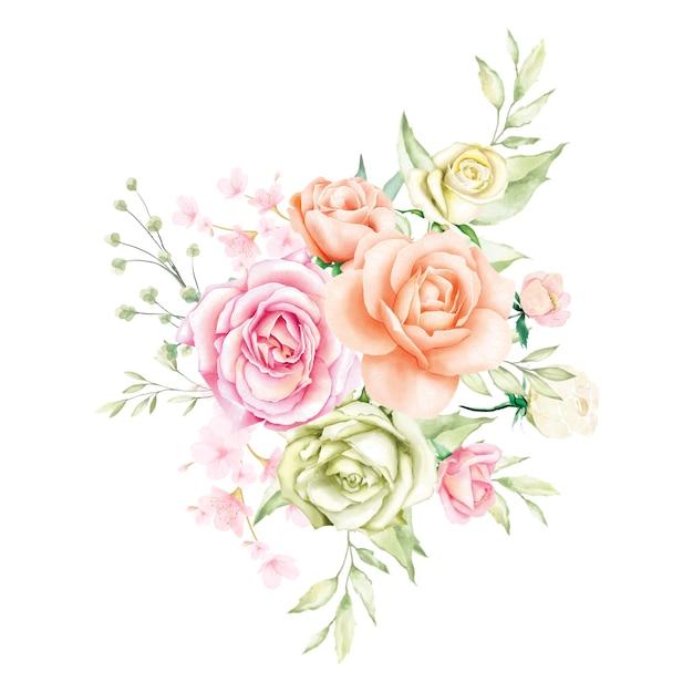 Aquarelle rose bouquet backfround Vecteur Premium