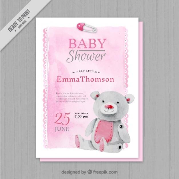 Aquarelle rose invitation de baby shower Vecteur gratuit