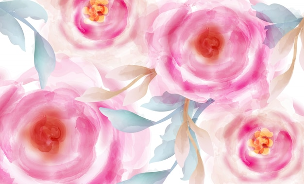 Aquarelle de roses roses avec des paillettes d'or Vecteur Premium