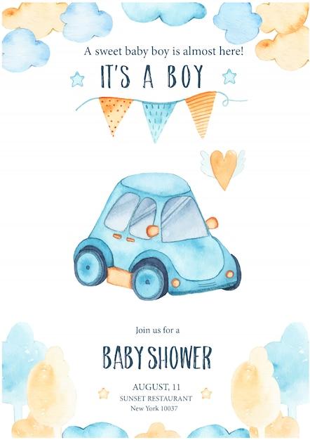 Aquarelle sa douche bébé garçon avec guirlande auto auto bleue Vecteur gratuit