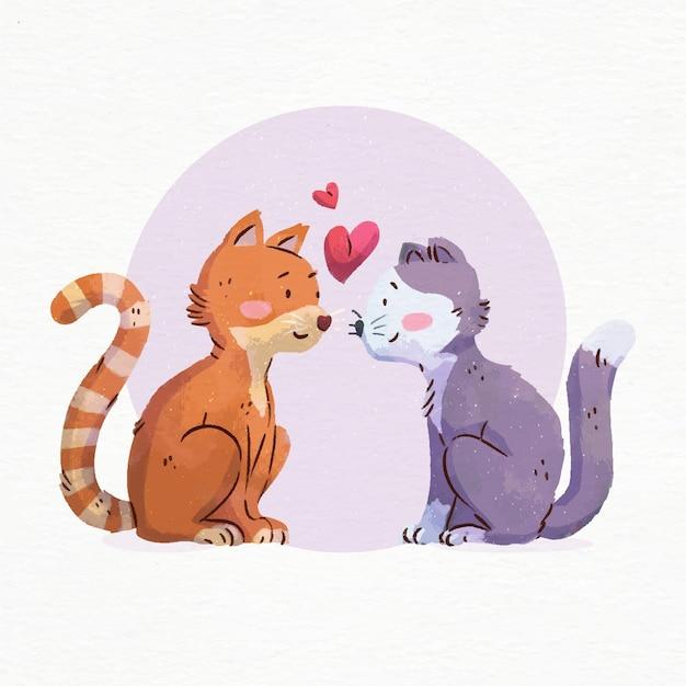 Aquarelle Saint Valentin Chats Amoureux Vecteur gratuit