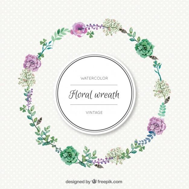 aquarelle simple couronne de fleurs vecteur gratuit