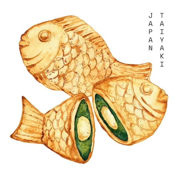 Aquarelle Taiyaki En Forme De Poisson Vecteur gratuit
