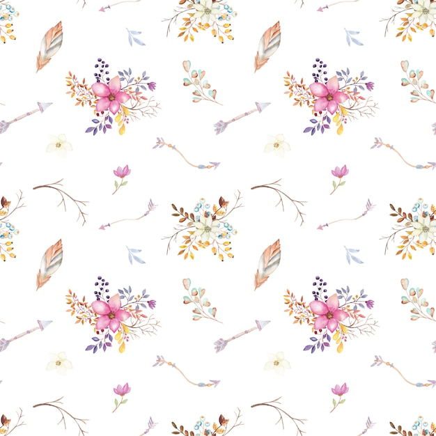 Aquarelle teepee motif floral Vecteur Premium
