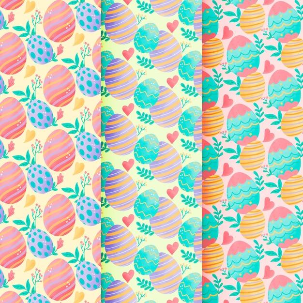 Aquarelle Transparente Motif De Pâques Avec Des Oeufs Colorés Vecteur gratuit