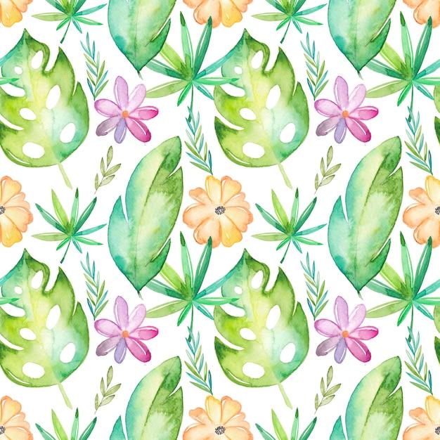 Aquarelle tropical modèle sans couture avec fleurs et feuilles Vecteur Premium