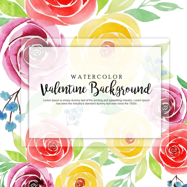 Aquarelle valentine floral background Vecteur Premium