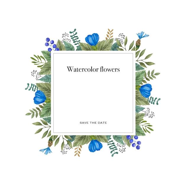 Aquarelle vecteur image de fleurs sauvages colorées. Vecteur Premium