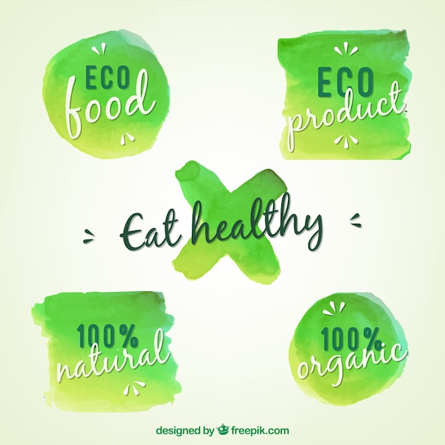 Aquarelle vert labels bio Vecteur gratuit