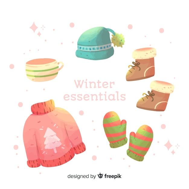 Aquarelle vêtements d'hiver et l'essentiel Vecteur gratuit