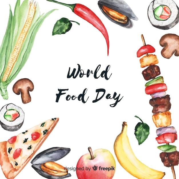 Aquarelle world food da Vecteur gratuit