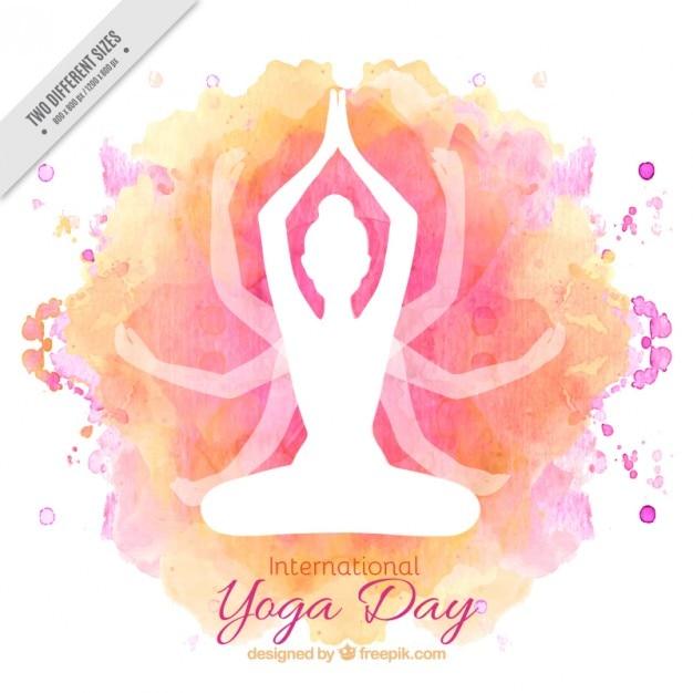 Aquarelle Yoga Internationale Day Background Vecteur gratuit