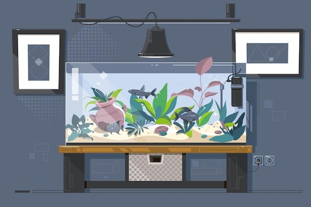Aquarium de réservoir Vecteur Premium
