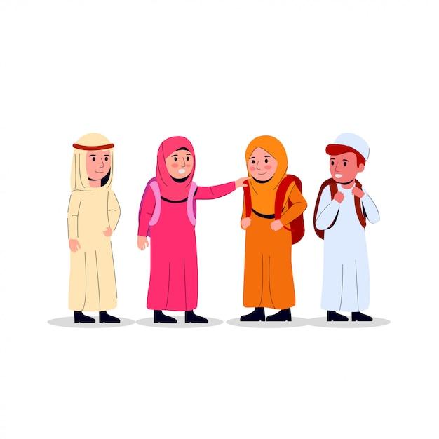 Arabian kids junior school illustration Vecteur Premium