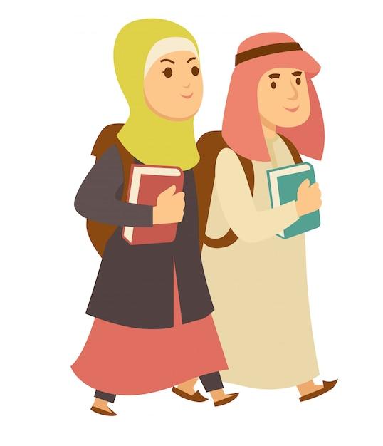 Arabie saoudite musulmane garçon et fille enfants vont à l'école personnages de dessins animés de vecteur Vecteur Premium