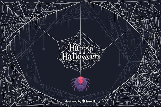 Araignée colorée avec toile d'araignée fond halloween Vecteur gratuit