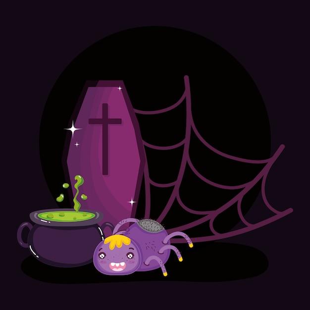 Araignée toile d'araignée chaudron et cercueil halloween Vecteur Premium