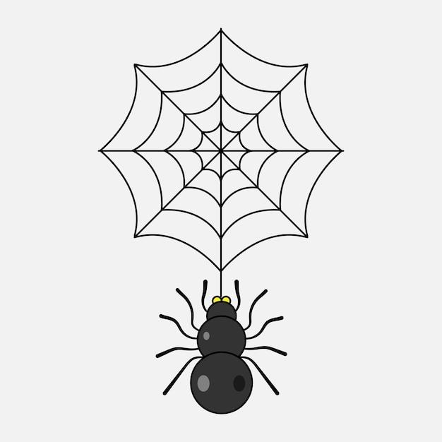 Araignée et web Vecteur Premium