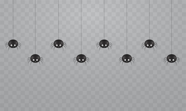 Araignées Mignonnes Suspendues Noires Sur Fond Transparent. Araignées Effrayantes Sur Les Toiles D'araignée Pour Halloween. Vecteur Premium