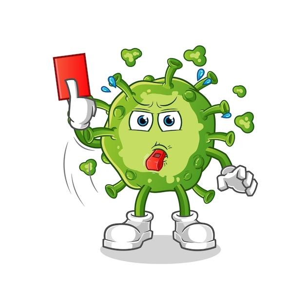 Arbitre De Virus Avec Illustration De Carton Rouge Vecteur Premium