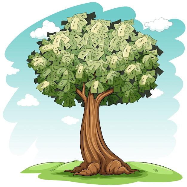 Un arbre d'argent Vecteur gratuit