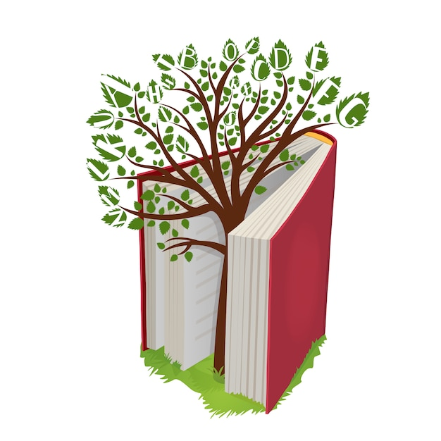 Arbre de connaissances avec des lettres du livre ouvert Vecteur Premium