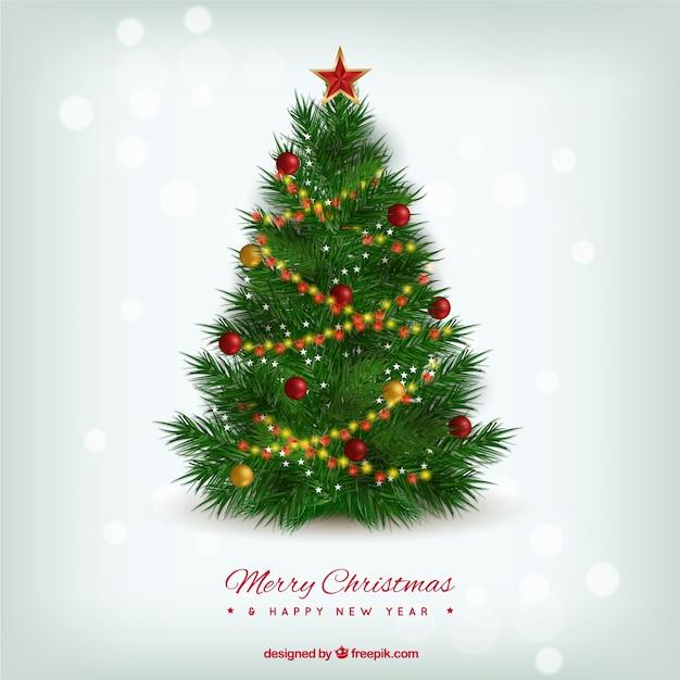 arbre de Noël réaliste Vecteur gratuit