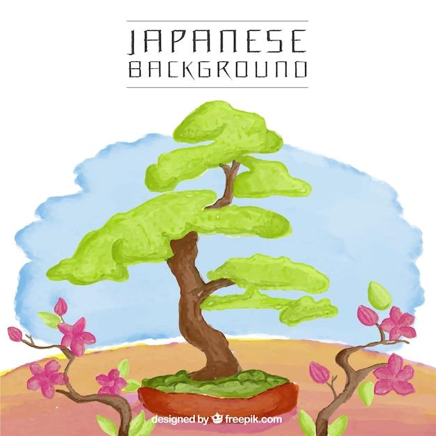 Arbre japonais fond d'aquarelle Vecteur gratuit