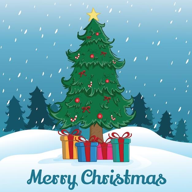 Arbre de noël et cadeau avec flocon de neige ou île de neige et fond d'arbre Vecteur Premium