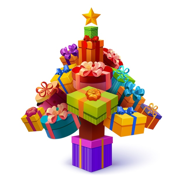 Arbre De Noël De Composition De Coffrets Cadeaux Avec étoile Jaune Et Emballages Décoratifs De Forme Différente Vecteur gratuit