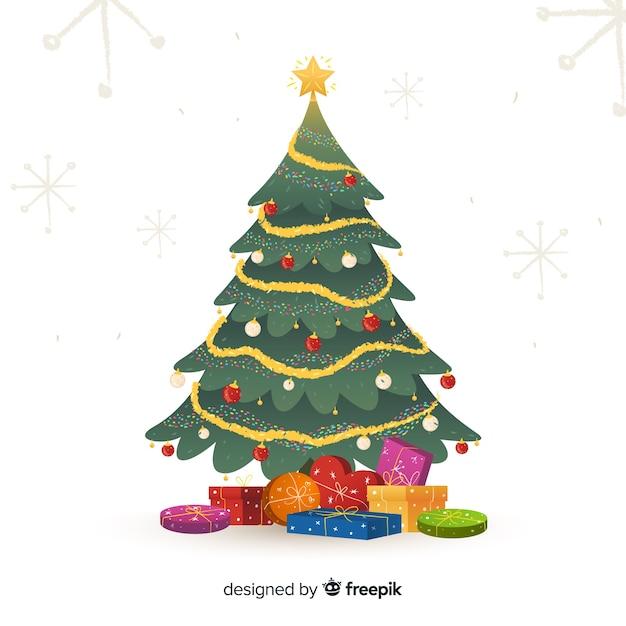 Arbre De Noël Décoré Avec Des Cadeaux Vecteur gratuit