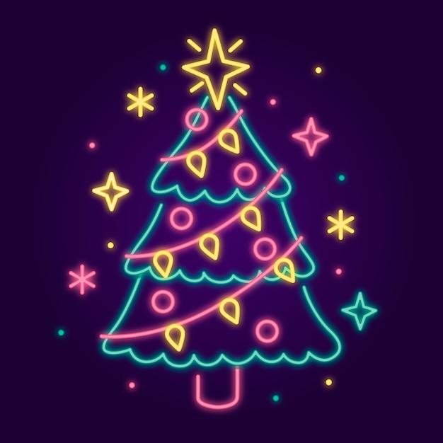 Arbre De Noël Avec Des étoiles Colorées Vecteur gratuit