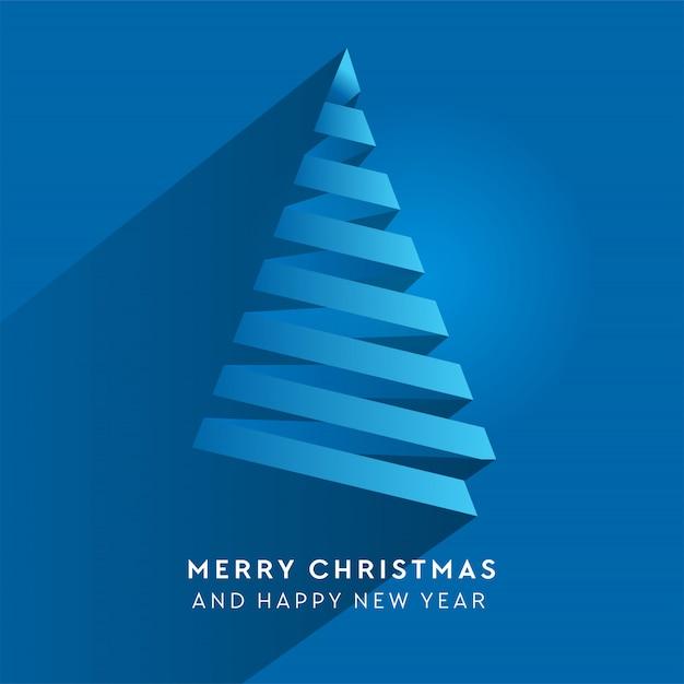 Arbre De Noël à Rayures En Papier Simple. Volume Papier Bleu Coupé Sapin Comme Une Flèche Avec Ombre. Vecteur Premium